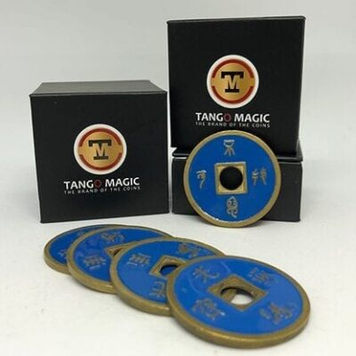 Expanded Shell Chinese Coin made in Brass (Blue) by Tango - Trick (CH005)