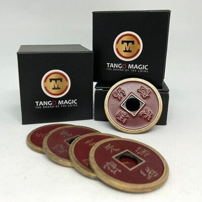 Dollar Size Shell Chinese Coin (Red) by Tango Magic (CH027)