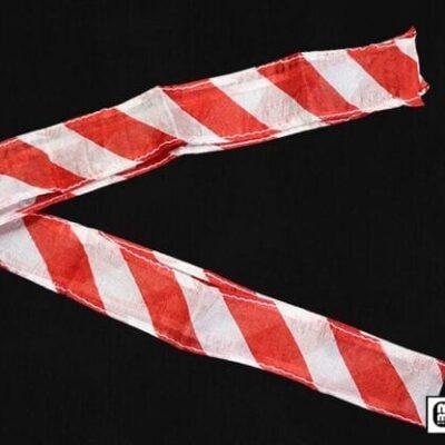 Thumb Tip Streamer Zebra 3' (Red and White) by Mr. Magic - Trick