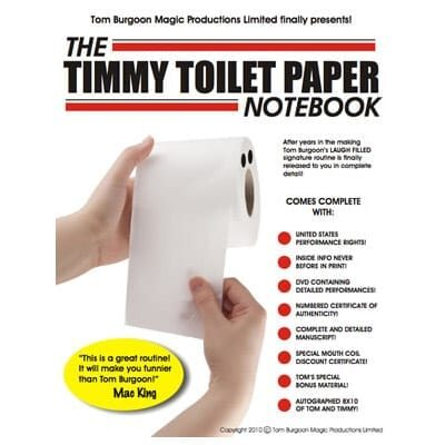 Timmy Toilet Paper Notebook (DVD and Notebook) by Tom Burgoon - DVD