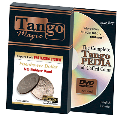 Flipper Coin Pro Elastic System (One Dollar DVD w/Gimmick)(D0088) by Tango - Trick