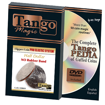 Flipper Coin Pro Elastic System (Half Dollar DVD w/Gimmick)(D0089) by Tango - Trick