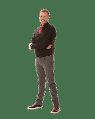 Jeff Veley Standing Red Tie